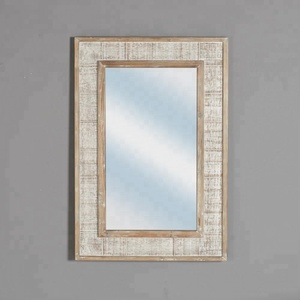 Mayco Farmhouse Antique Natural Wood Handmade Shabby Chic Hinged Mirror Wall Mounted