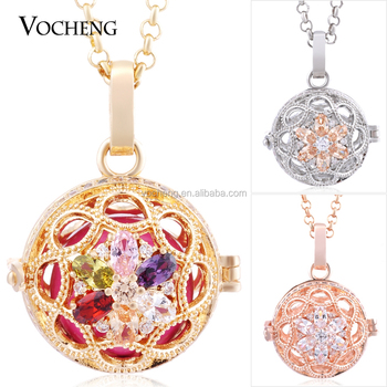 10pcs/lot Vocheng Stainless Steel Chain 3 Colors Blossom CZ Stone Interchangeable Locket necklace VA-224*10 Free Shipping