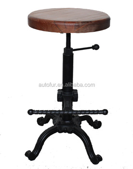 Antique Wooden Bar Stool Base Counter Height Stool