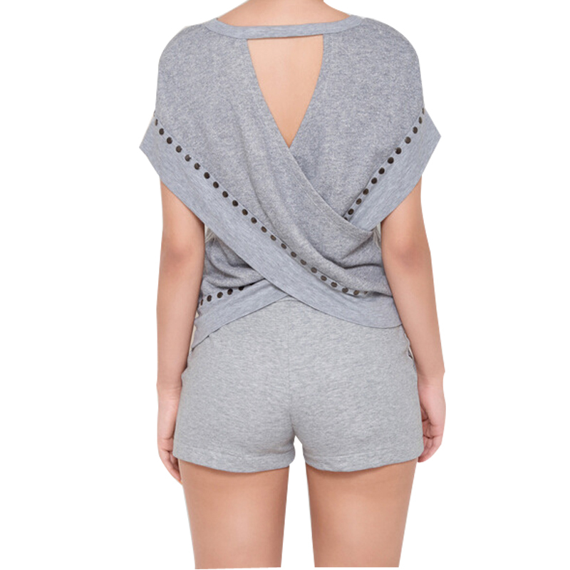 Women Jumpsuit Sport Rompers And Jumpsuits Sexy Gray Top Shorts Women Two Piece Outfits Sport Suits  Casual Bodycon Jumpsuit