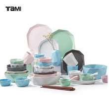 Polygon Tall Grade China Wholesale Ceramic crockery tableware square dishes Dinnerware Sets