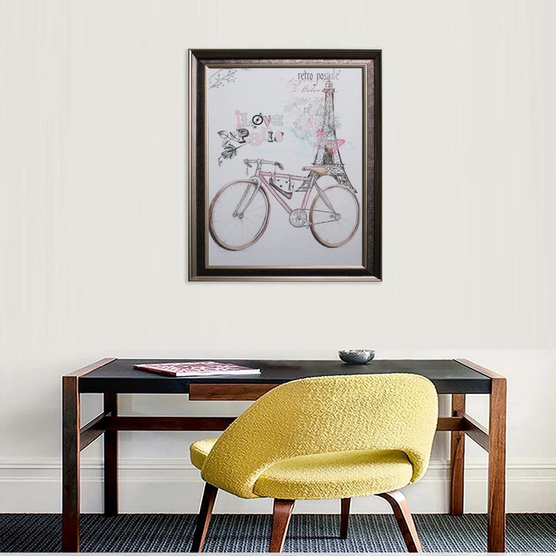 MARCO DE ORO acuarela fácil bicicleta y Torre Eiffel lienzo imagen ...