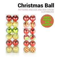 2017 new design 6 cm plastic hand painted colorful christmas ball