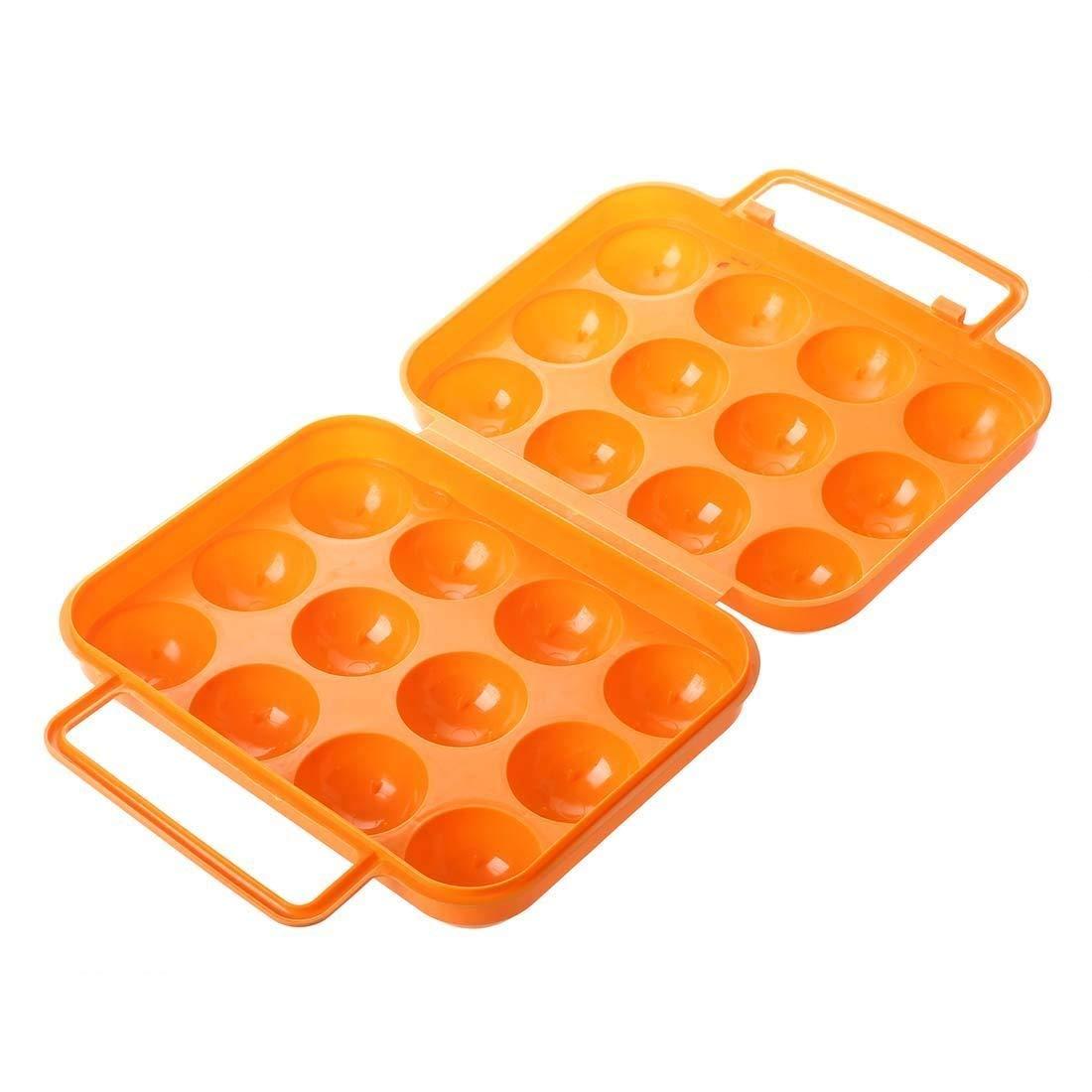 LUQUAN Portable Folding Plastic Egg Carrier Holder Storage Container-Orange