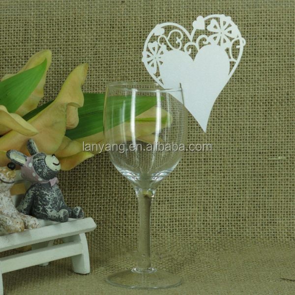 Hot sell Heart Glass Place Cards Laser Cut Pearlscent Cards for wedding
