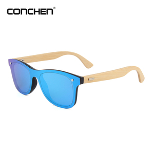 Cheap low moq boys girls flat mirror lens bamboo frameless sunglasses