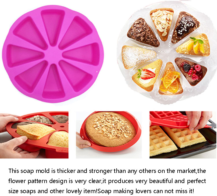 Christmas fashion design 8 cups microwave oven safe silicone round cake pan