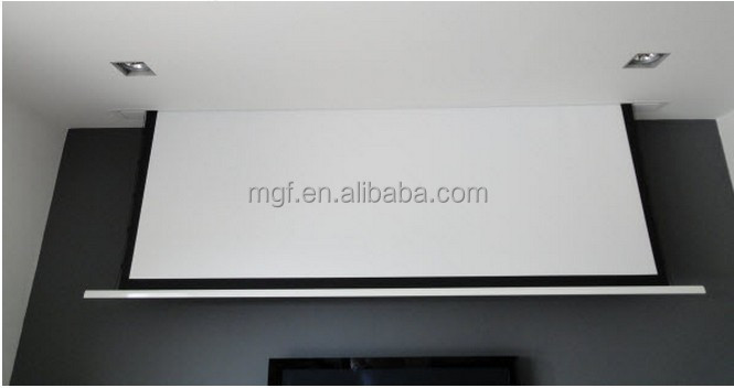 120 inch electric motorized ceiling mounted display On motorized projector screen ceiling mount