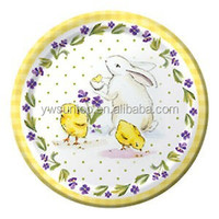 Classic Easter Bunny & Chicks Polka Dots Floral Themed Paper Lunch Plates wedding party decoration supplies wholesale