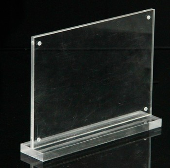 Transparent T shape acrylic sign holder custom size plastic card display stand