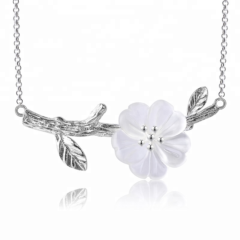 Unique 925 Silver flower Natural crystal necklace, As photo