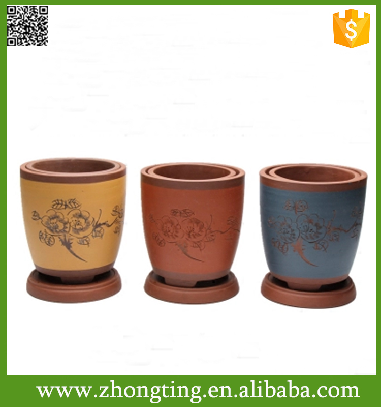 Home decorative cheap hand painted terracotta pots with saucer