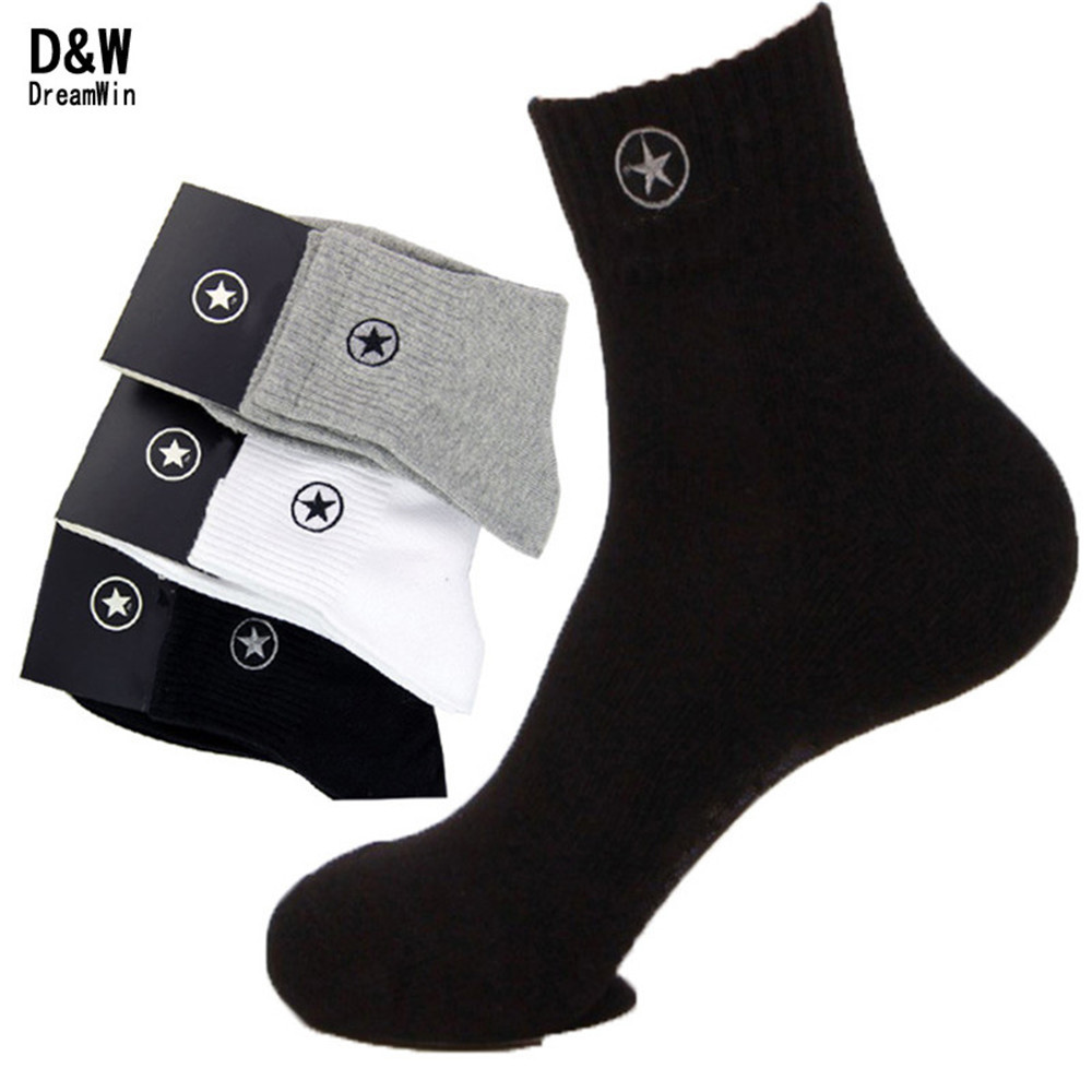 D&W(5Pairs/Lot)Men Combed Cotton Brand Socks Men Black Fashion Compression Thermal Winter Socks New Elite Athletic Sport Socks