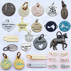 Customized logo mini size metal engraved tags gold silver rose gold pendant charms for jewelry bracelets