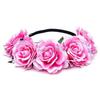 Elegant Lovely Pink Rose Flower Crown Knitted Broad Hair Bands
