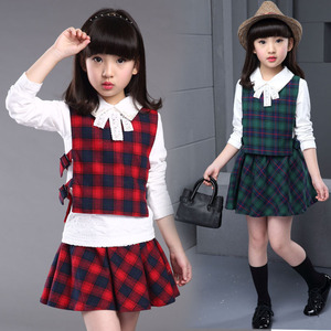 Autumn 3pcs checked bowknot kids girl skirt boutique quality children sets clothes