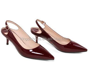 08a897328 Korean Style Burgundy Patent PU Slingback Kitten Heel Shoes Women 2018