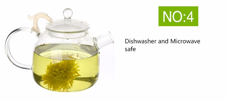 Handblown clear high borosilicate small glass teapot with infuser
