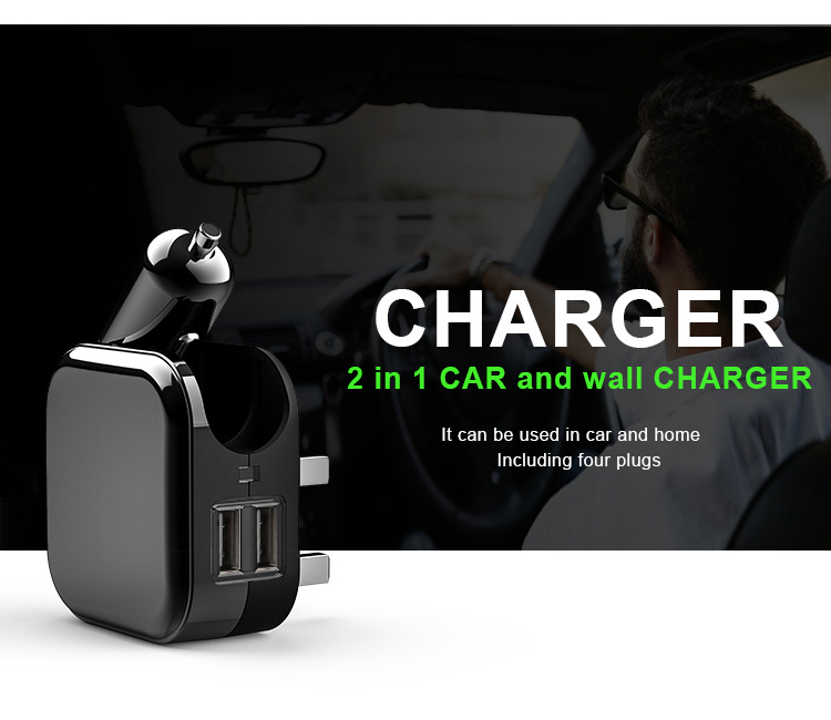 Multi-function Car & home 2 in 1 cellphone chargers with US/EU/AUS/UK plug available