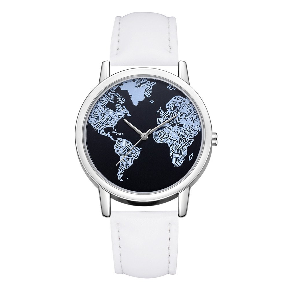 Watches For Women,POTO Quartz Womens Waches Clearance On Sales Casual World Map Pattern Luxury Stainless Steel Round Wristwatch Womens Leather Band Analog Alloy Wrist Watch For Ladies