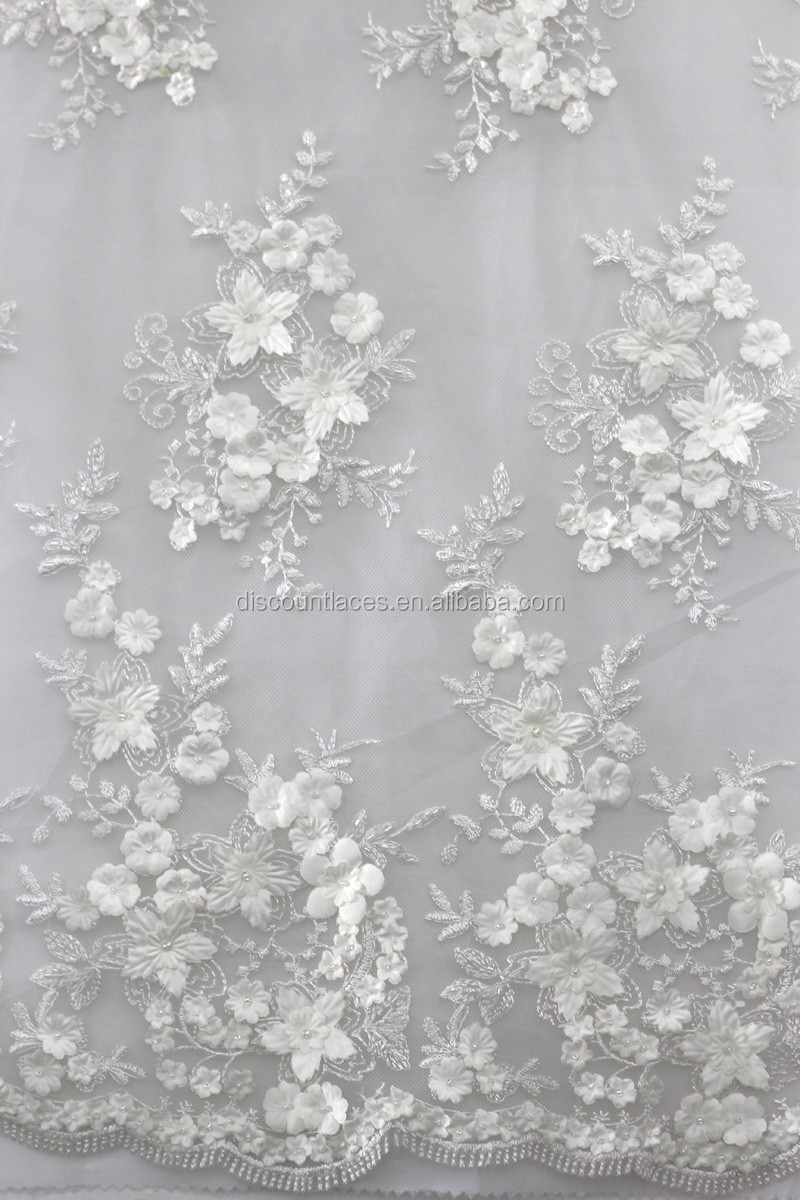 white bridal lace fabric 3d flower lace embroidered fabric ...