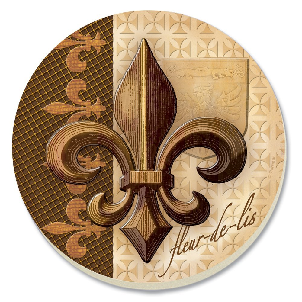 Conimar 4-Inch Absorbent Stoneware Coasters, Bronze Fleur de Lis, Set of 4