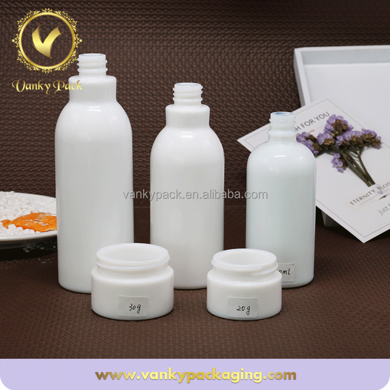 Cosmetic different volume opal white lotion container glass bottle with pump
