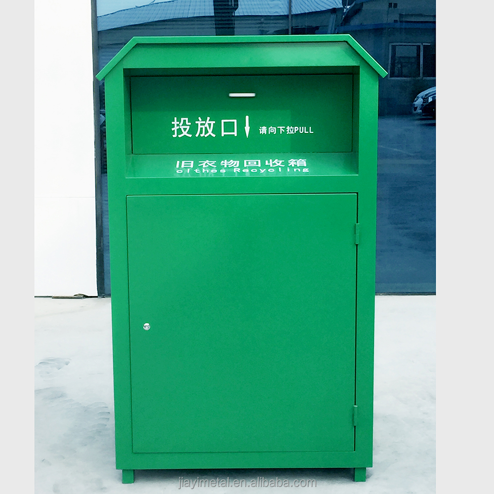 Customized standing 1000 liter galvanized sheet donate clothing bin