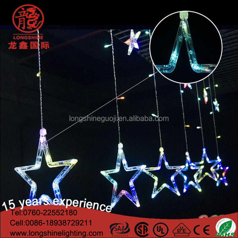 Newest christmas decorative led star curtain light with CE RoHS