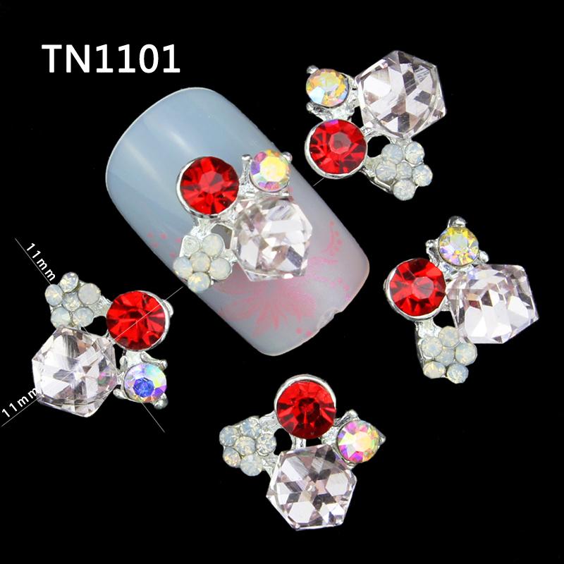 10 Pcs 3D Nail Art Decorations Silver Alloy Diy Glitter Geometric Charm Red AB Rhinestone Tools