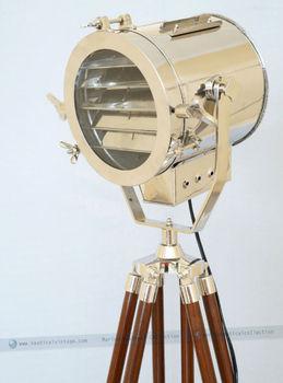 Designer Handmade Chrome Signal Light Floor Tripod Lamp