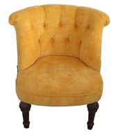 Yellow velvet tufted living room accent tub chairs