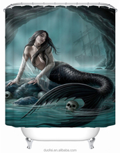 Polyester Anime Enthusiastic Unique Mermaid Shower Curtain