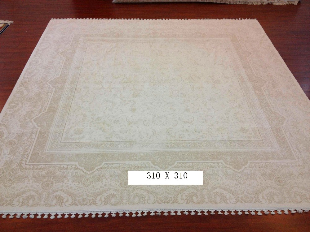 Square Persian Handwoven Wool Silk Blend Carpets Handmade Rugs India For Home