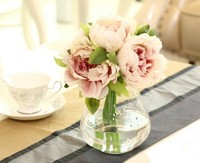 High Quality silk flower Artificial Peony Flowers Fake Leaf Wedding Home Party Decoration Bouquet