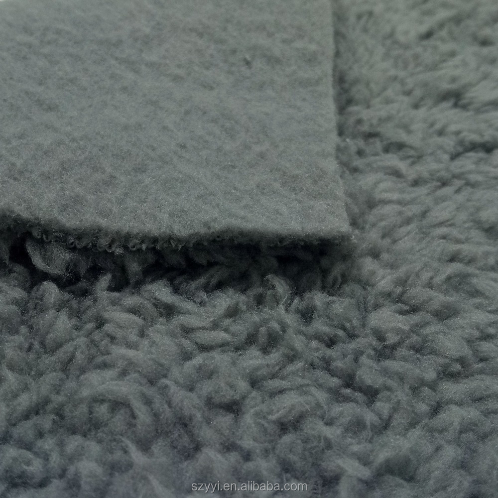 Wholesale manufacturer 100% polyester grey knitted soft sherpa fabric fleece for winter clothing and shoes