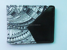 pu leather custom digitial print pattern clip wallet