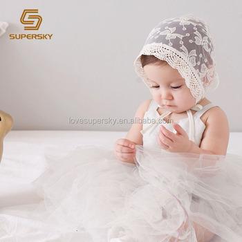 2bb9eba1d9c10 Chapéu bonito do bebê do verão de renda recém-nascidos chapéus bonnet  newborn fotografia props