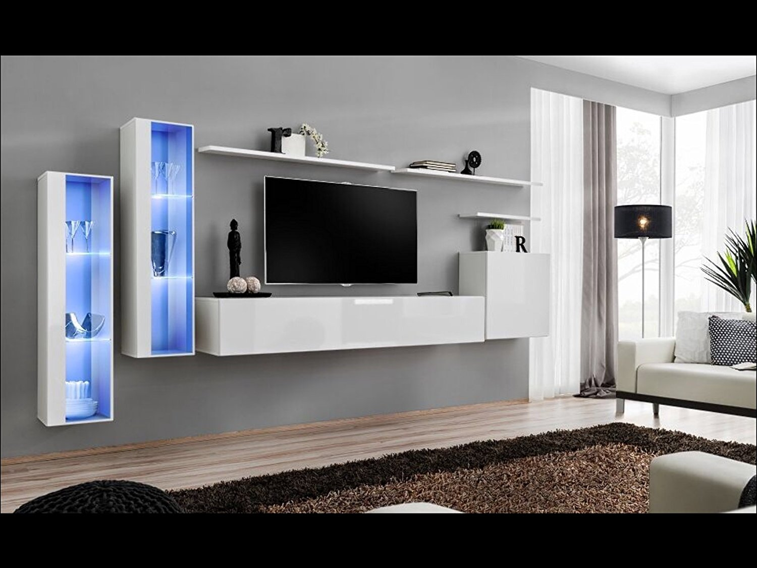 SHIFT XI   Seattle Collection High Gloss Living Room Furniture   Floating  TV Cabinet   European Design Wall Mounted Cabinets With LED Lighting (White  ...