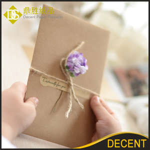 Brown Kraft Paper Flower Decorated Blank Gift Note Cards 17.5x11 cm