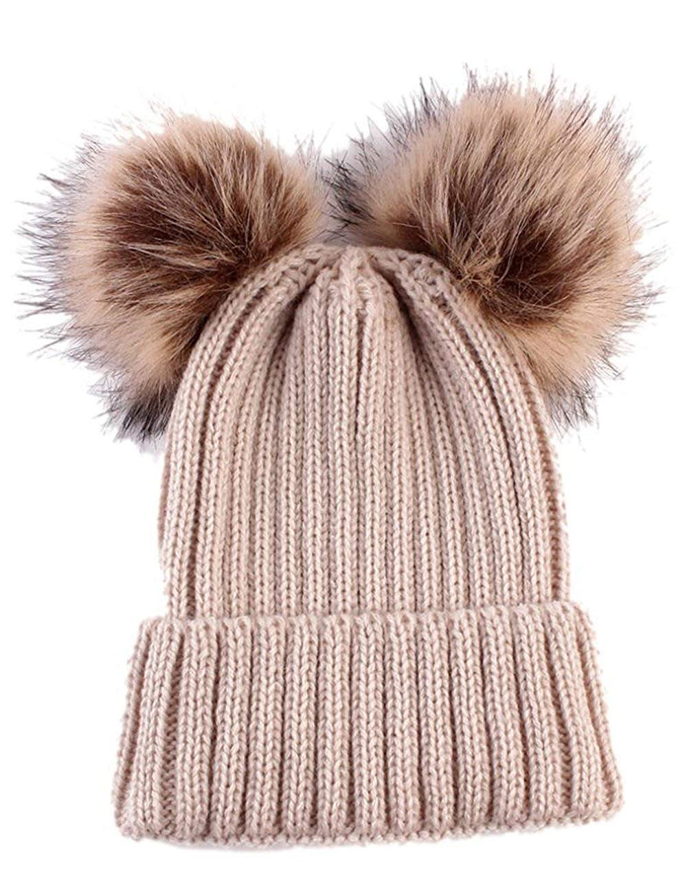 8a2fa35804f Toddlers Baby Girls Boys Knit Woolen Ball Crown Hats Beanie Caps Winter Hats