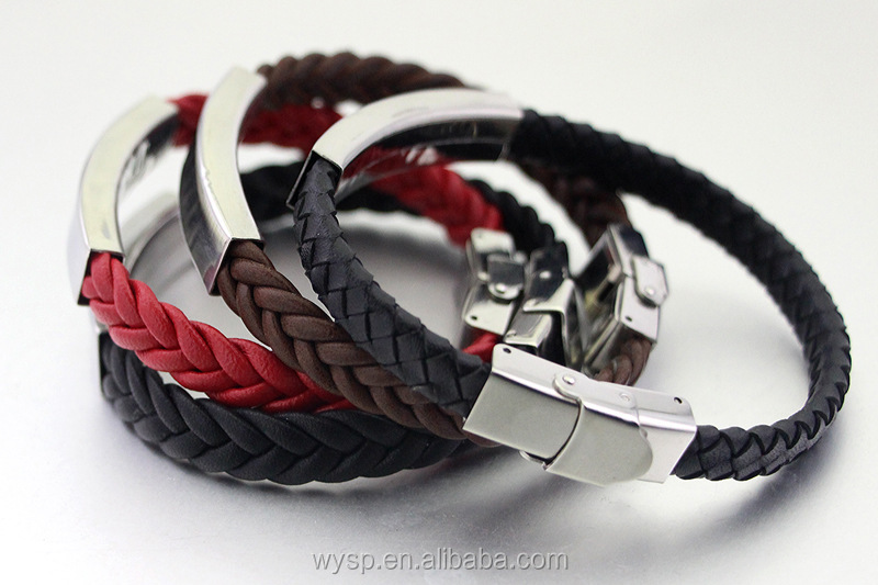 Fashion 316L stainless steel metal ID name plate bracelet with braided leahter bracelet for men