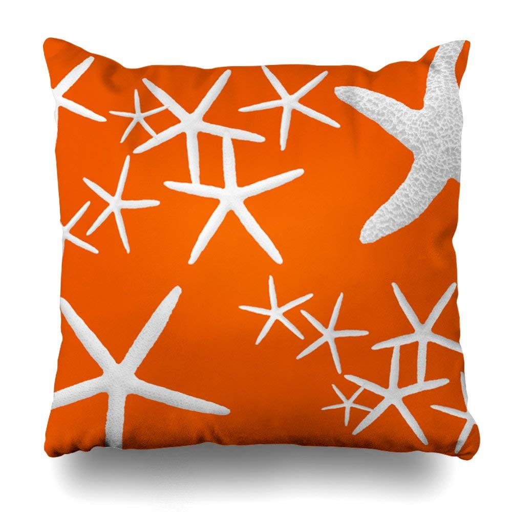 "Soopat Decorative Pillow Cover 18""X18"" Two Sides Printed Persimmon Orange Starfish Decorative Throw Pillow Cases Decorative Home Decor Indoor Nice Gift Kitchen Garden Sofa Bed Car Living"