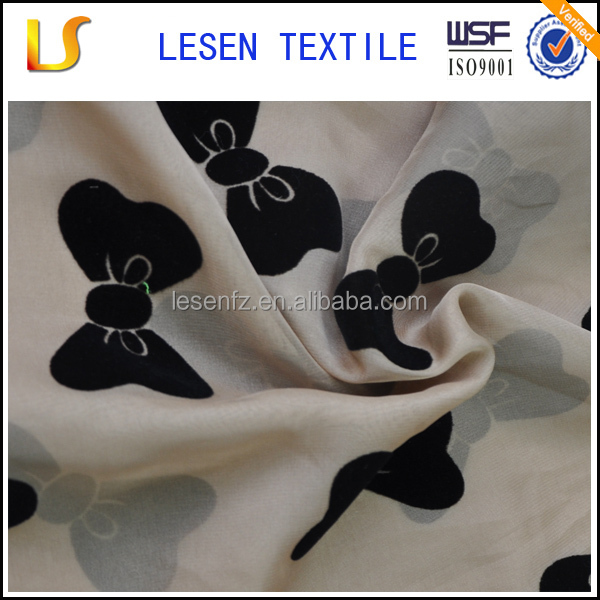 100% polyester chiffon flocked cloth for dress