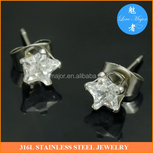 4mm star zircon with stainless steel fashion women's studs earrings