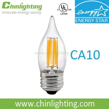 High lumen ENERGY STAR dimmable decorative ca10 e26 dimmable led light