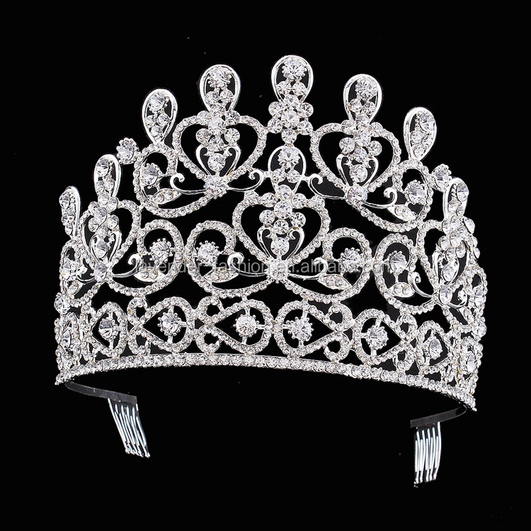 Top design custom big pageant crowns for sale, princess crystal crown