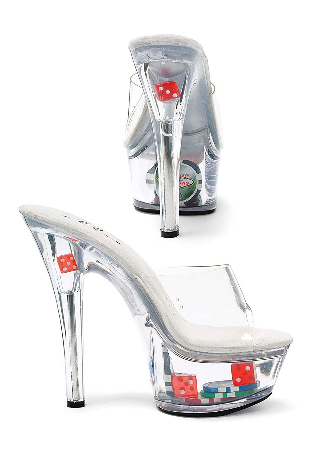 a951266fb3b1 Get Quotations · Ellie Shoes Women s 6 inch Heel Clear Mule with Dice and  Poker Chips
