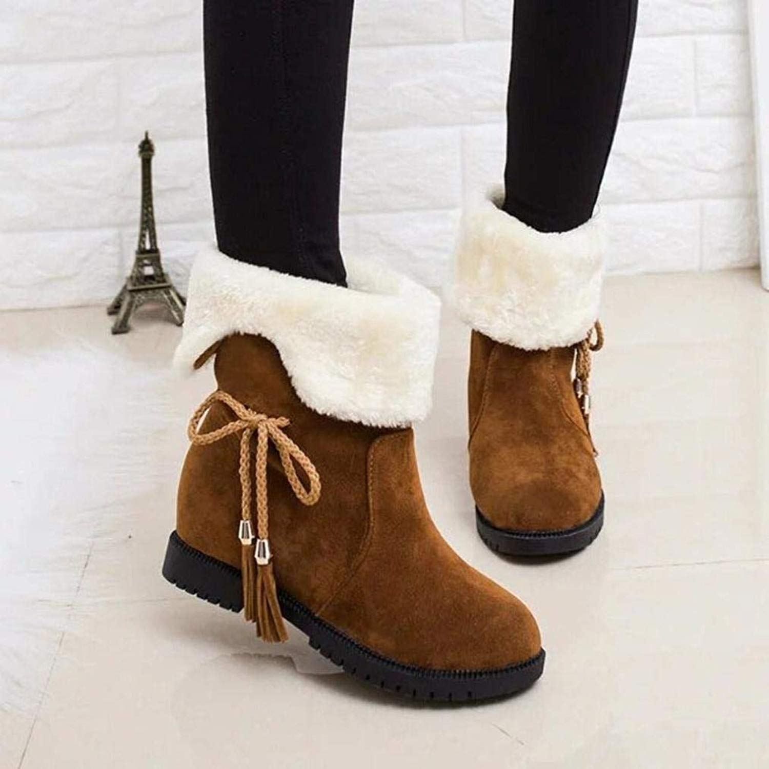 6dd63c9d5f Get Quotations · Gyoume Women Snow Boots Winter Ankle Boots Women Shoes  Heels Boot Shoes Warm Boots