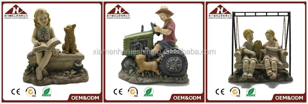 în aer liber copii statui grădină cu un câine